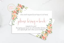 peach baby shower bring a book request book request card