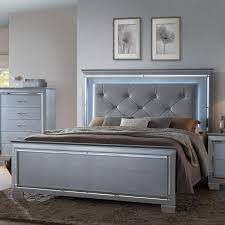 Bed Headboards And Footboards Crown Mark Lillian Queen Headboard And Footboard Bed With Led