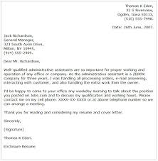 Cover Letter Examples For Administrative Assistant     cover     happytom co