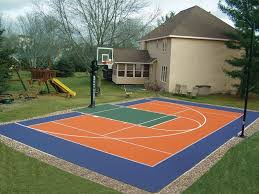 outdoor garden lscape blue basketball court backyard basket