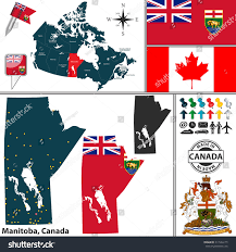 Manitoba Canada Map by Vector Map State Manitoba Coat Arms Stock Vector 311544179