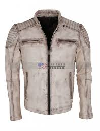 Vintage Mens Clothing Online Vintage Italian White Grey Waxed Genuine Leather Mens Jacket