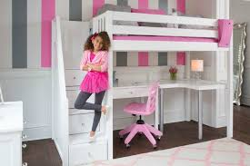 girls loft bed with a desk and vanity stylish bunk beds with desks under them within back to ready