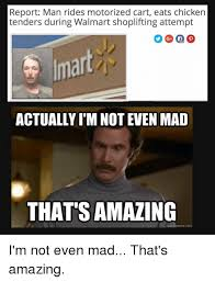 Shoplifting Meme - report man rides motorized cart eats chicken tenders during walmart