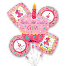 1st birthday girl cupcake birthday girl mylar party balloon bouquet