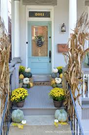 yellow and green fall porch porch fall decor and entry foyer