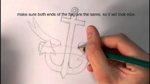 how to draw an anchor with ribbon simple version youtube