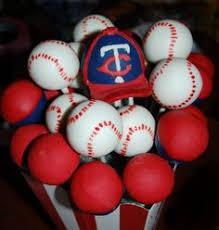 cake balls made for the kc royals home opener baseball game cake