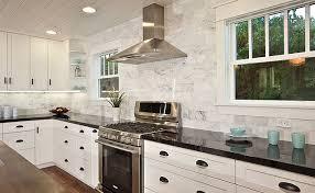 White Kitchens Backsplash Ideas Marble Backsplash Black Countertops Too Sterile Kitchen
