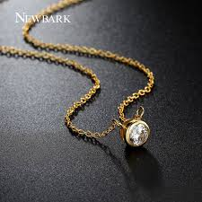 necklace pendant setting images Newbark women jewelry set gold color with round cubic zircon jpg