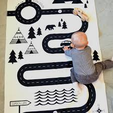Kids Play Rugs With Roads by Play Mat Modern Black And White Childrens Playmat Car