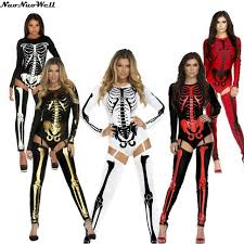 skeleton costume fashion printed bone stage masquerade women