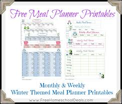 printable menu planner pages free winter themed meal planner printables