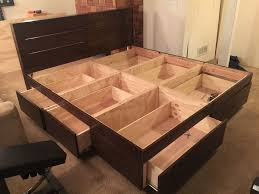wood bed frame with drawers platform bed with drawers bed frames drawers and room