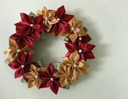 lillyella crafting a ribbon poinsettia wreath