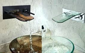 wall mount glass sink chrome on glass vessel sink and waterfall faucet set kraus glass