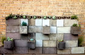 Concrete Succulent Planter Design Brand Plan Cinder Block Planter And Succulent Brick Wall