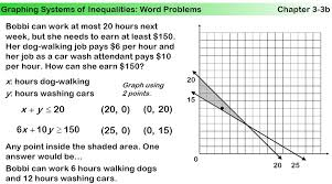 systems of linear inequalities word problems worksheet free