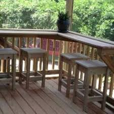 bar extends length of deck with pull out seating river view http