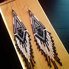Ruby Red Long Brick Stitch Ptarmigan Feathers Comanche Hand Brick Stitch Earrings Long