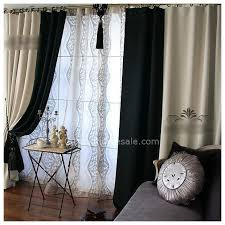 Black Ivory Curtains And Ivory Blackout And Thermal French Country Curtains