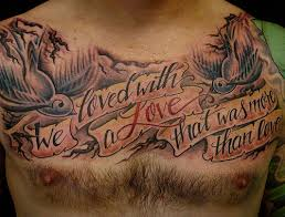 chest words tattoos for guys photos pictures and sketches