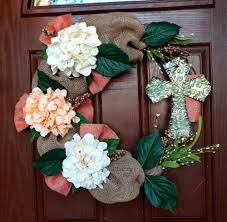how to make easter wreaths burlap easter wreath with cross tutorial
