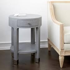 dakota 1 drawer round side table gray bungalow 5