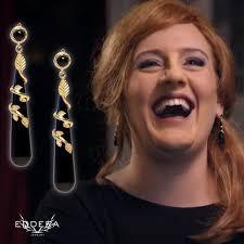 eddera earrings adele wearings eddera s leaf drop earrings in black onyx