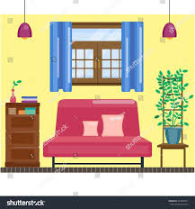 living room interior window curtain comfortable stock vector living room interior with window and curtain comfortable hall vector home interior in flat
