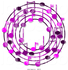 royalty free clip art logo of a wreath of purple music notes with