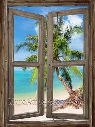 beach cabin window 4 wall mural window self adhesive wall mural