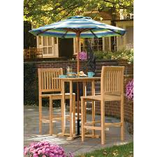 Bar Height Patio Dining Set by Outdoor Patio Bar Height Bistro Set Made Of Oak Wood In Natural