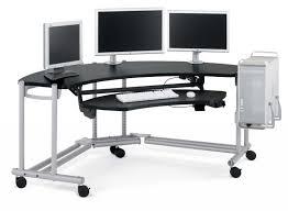 photo of ergonomic computer desk setup with productivity and