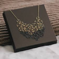 tone necklace images Gold and black lace two tone necklace by arabel lebrusan jpg