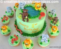 jungle baby shower cake and cupcakes from creative baby shower
