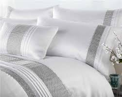 Curtains White And Grey New Luxury Diamante Bedding Duvet Cover Bed Sets Lined Eyelet