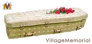 wicker casket bamboo lattice coffin woven green burial