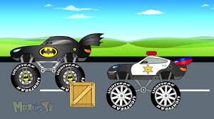monster truck for children cartoon new toy factory batman truck vs police truck monster trucks