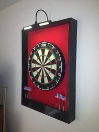 black dart board cabinet lighted red black trim custom dart board backboard surround w dmi