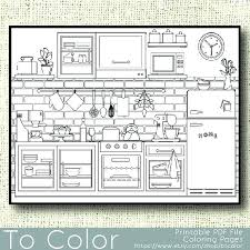 coloring pages of kitchen things kitchen coloring page tamatama info