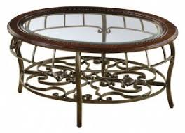 Traditional Coffee Table Round Glass Coffee Table Metal Base Open Travel