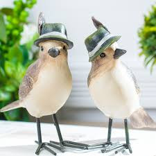 handmade vintage resin bird ornaments with feather hat poly resin