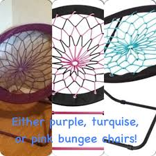 either purple turquise or pink bungee chairs on the hunt