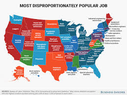 popular disproportionately popular job in every state map business insider