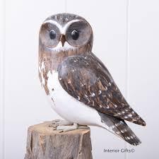 archipelago owl d330 on tree stump bird wood carving
