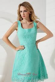 turquoise lace princess square straps bridesmaid dress perfect