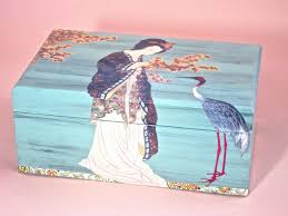 box with japanese lady and crane decoupage aqua box storage box