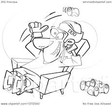 beer cartoon black and white cartoon clipart of a black and white hockey player or fan sitting