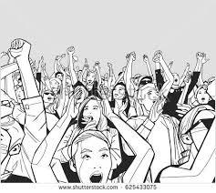 Going Crazy Line Art Illustration Festival Crowd Going Stock Vector 621807758